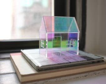Iridescent rainbow structure in pastels and neons - opalescent architecture - miniature house in iridescent mirror - shiny jewel tone
