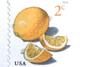 10 Unused Lemon Stamps // 2 Cent Lemon Citrus Postage Stamps // For Mailing Wedding Invitations or Cards