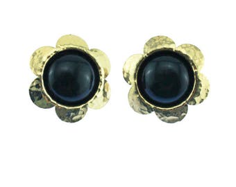 Vintage Gold Flower Earrings, Gold and Black Flower Earrings, Chunky Gold Earrings, Chunky Gold Stud Earrings, Gold and Black Earrings