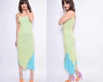 Vintage  90's Light Green And Blue Mesh Dress / Strappy Asymmetric Maxi Dress - Size Medium