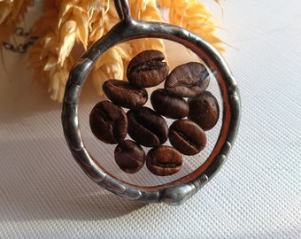 Jewelry with coffee beans, a necklace with coffee beans, real coffee beans,terrarium with coffee beans,present for coffee lovers,coffee gift