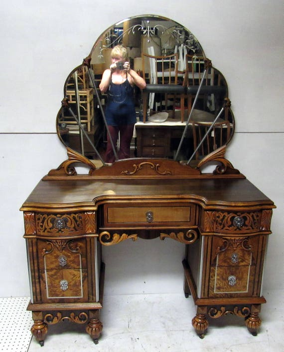 Art Nouveau Vanity and Mirror