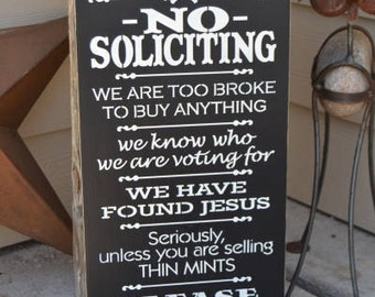 No Soliciting Sign, Thin Mints Sign, Front Porch Sign, 9.5x18 Solid Pine Wood Sign, Choose hanger & color