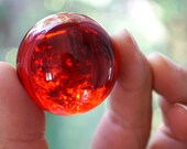 Red Crystal Ball Huge Glass Ball 39mm Large Marble Big Glass Marble Vintage Marble Colorful Sphere Collectors Marble
