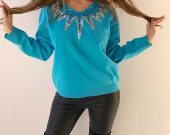 Blue Sequined Sweater by Maurada, 90's Vintage, Silver, Blue SZ L