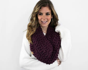 Knit Scarf Chunky Knitted Cowl Fig- Anacostia Cowl