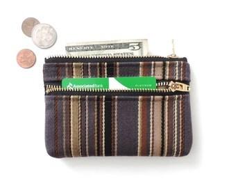 Wool Stripe Wallet Coin Purse Double Zipper Pouch