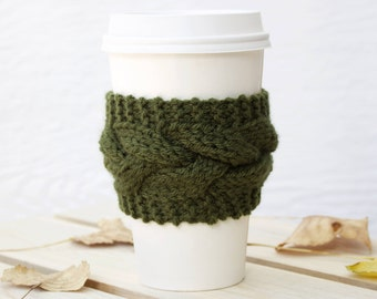 Moss Cable Knit Coffee Cozy w/Wood Button/ Tea Cozy/ Cup Cozy/ Coffee Cover/ Coffee Sleeve/ Latte Cozy/ Jade Coffee Cozy