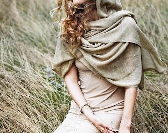 Alpaca linen scarf / light brown sand nude alpaca wool Wrap Scarf / knitted linen Scarf / dark gray scarf / woman scarf