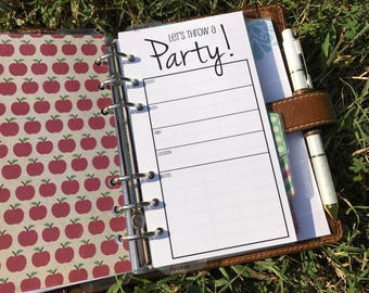 Printed Personal Size Party Planning Kit