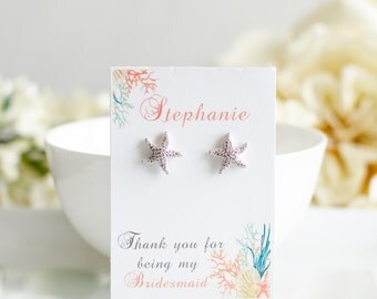 Starfish Earrings   Beach Wedding   Bridesmaid Gifts   Bridesmaid Earrings   Starfish Jewelry   Pearl Earrings   Reversible Earrings