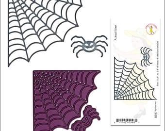 Halloween cutting dies - Spider Net metal Die - spider and web Cuttlebug & most machine compatibility