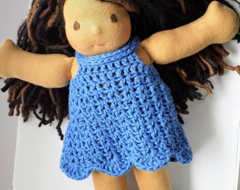 Crochet cotton doll dress, waldorf doll clothes, cuddle doll dress, bamboletta doll dress, 12 inch doll dress, blue cotton summer dress