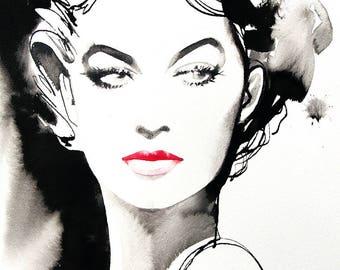 B&W Fashion Hollywood Art print Vintage Retro 40s Salon Decor Red Lipstick Huge Canvas, Hair Salon Art Salon Ideas