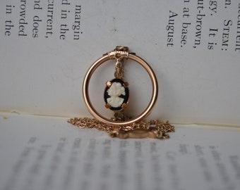Vintage Rose Gold Filled Cameo Necklace - 1950s Cameo Pendant, Rose Gold Filled.