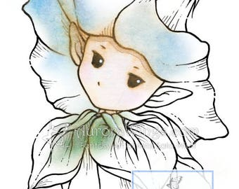 Digital Stamp - Whimsical Morning Glory Sprite - Instant Download - digistamp - Fantasy Line Art for Cards & Crafts by Mitzi Sato-Wiuff