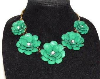 Vintage Green Flower Statement Necklace