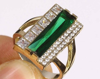 Antique Style Handmade Statement Ring In Emerald Topaz And Sterling Silver