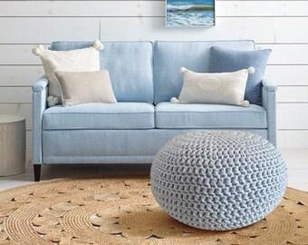Light Blue Nursery Footstool, Crochet Pouf, Floor Cushions, Knit Floor  Pillow, Round