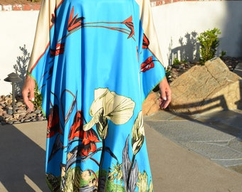 Blue Floral Silk Caftan Womens Silk Kaftan Silk Dress Silk Beach Coverup Long Caftan Resort Wear Plus Size Caftan Silk Tunic