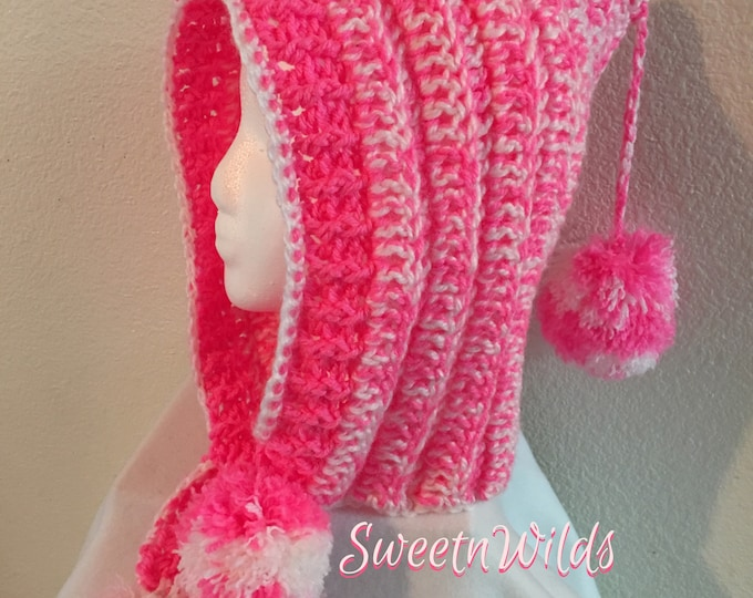 Crocheted Hoodie-Winter Hat-Girls Pom Pom Hats-Christmas  Gifts-Women's accessories -Candy Cane Pink-Crocheted Hat