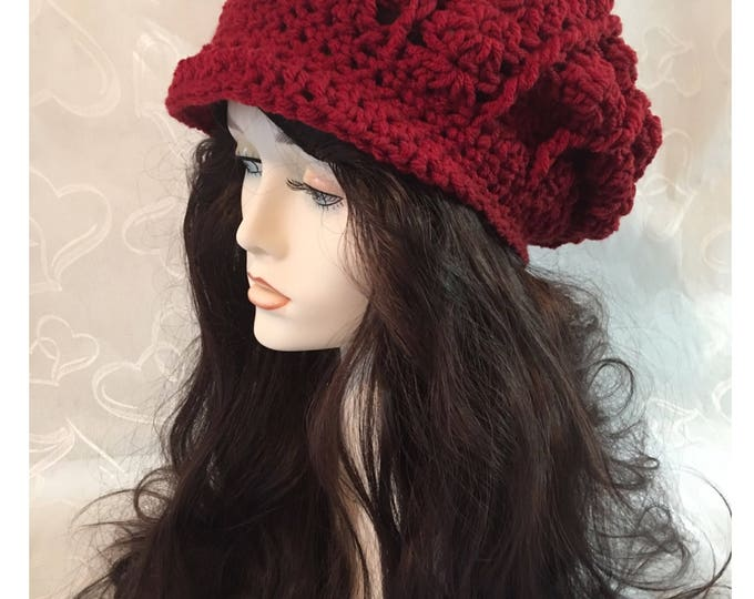 Slouchy Crocheted Hat-Newsboy Hats-Newsboy Cap-Womens Hats-Red Hats-caps-Hippies -