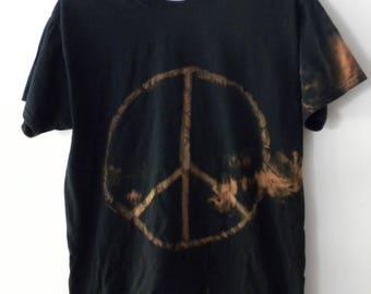 Peace Black Tee shirt, Acid wash Shirt, Grunge T-shirt, Acid wash, Rocker, Hipster T Shirt, retro, urban, fade, Gift under 15 dollars, Sale