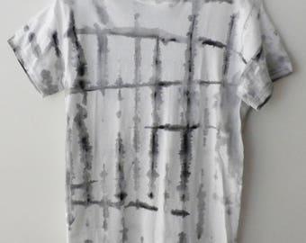 Tee Shirt, Graphic Tee shirt, Tie dye, Grunge, retro, rocker, Painted Tee, black and white shirt, acid wash