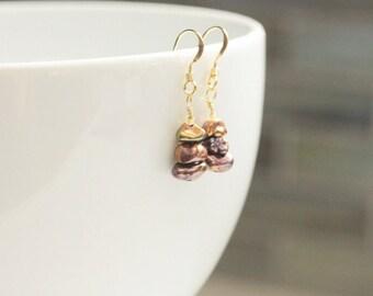 pearl earrings / small drop earrings / june birthstone / dangle pearl earrings / lustrous dark pearls / gold ear wires / gift for her