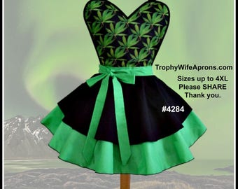 Apron # 4284 - Cannabis print on a black and apple green retro apron