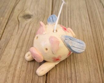 Flying Pig,Ceramic flying pig garden decor,Pink,Blue,Pottery Pig,Porch Decor,Ceramic Pig,Pig ornament,When pigs Fly,Fumnny Pig,Flying Pig
