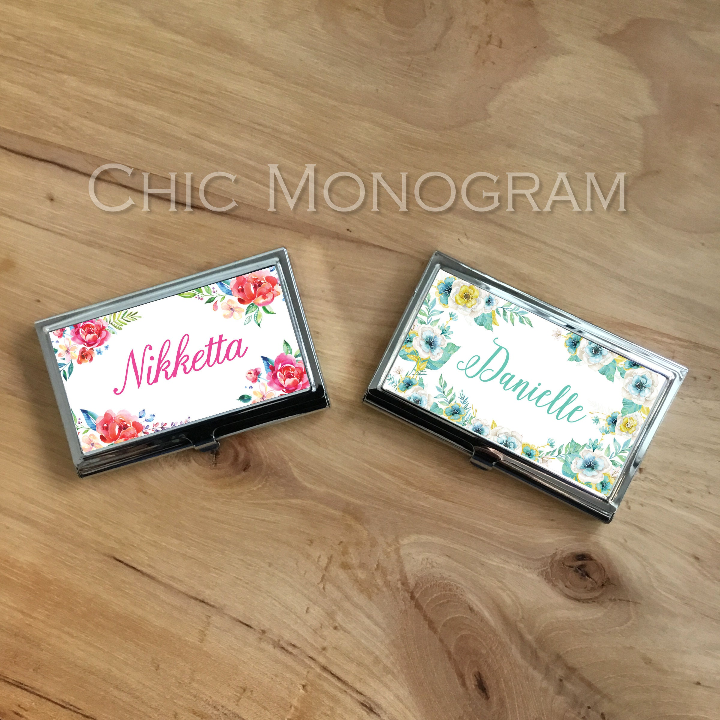 Personalized Business Card Case New Job Gift Classy Floral Design ...