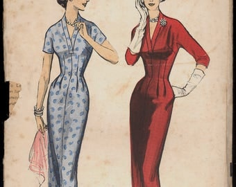 1950s Size 10 Bust 31 Easy Sheath Dress Plunging Neckline Advance 8368 Vintage Sewing Pattern 50s Mid Century Sew Wiggle