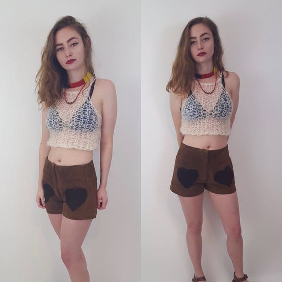 HANDMADE 90s Style Sheer Knit Top - Womens Small Neutral White Cream Grunge Shirt- Open See Through Eco Friendly Tank Spring Summer Handknit