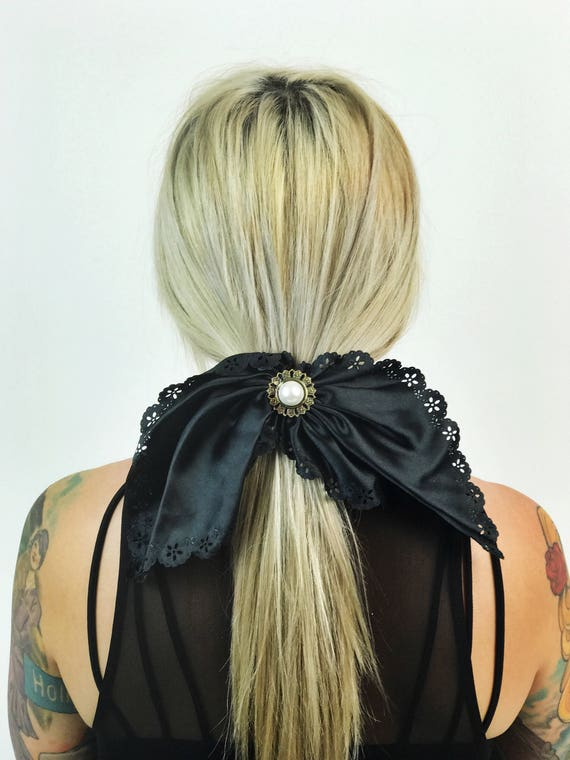 90's Black Hair Clip French Clip - Large Bow Clip Lace Trim Hair Barrette - Nineties Hipster Grunge Hair Accessory