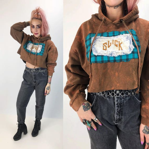 Remade Cropped Hoodie Sweatshirt Large - Cropped Bleach Tie Dye Grunge Athletic Hoodie Vintage Patched - Upcycled Unique Patch Slouchy Crop