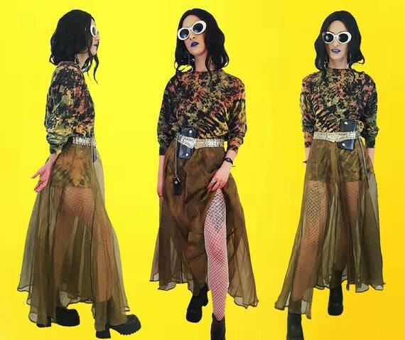 80's Vintage Sheer Olive Green Silk Maxi Skirt Long High Waisted Maxi Medium - 1980s Earth Tones Gold See Through Full Circle Skirt