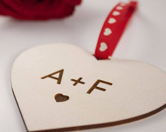 INITIALS with Heart // Love Heart Gift // Laser Cut and Engraved Plywood // Valentines Day
