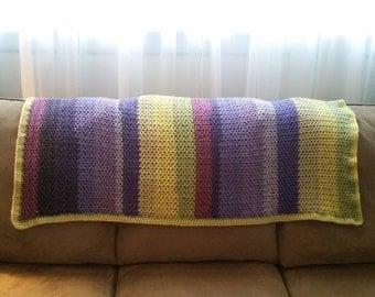 Crochet Square Baby/Toddler Blanket, Purple Green & Yellow
