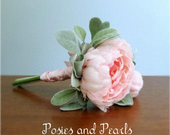 """Pink Peony Bouquet, Silk Peony with Bud and Lamb's Ear Leaf Greenery, Silk Wedding Flowers, Petite Bridal or Bridesmaid Bouquet, """"Emma"""""""