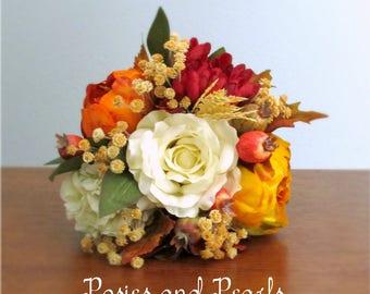 "Fall Silk Flower Bouquet, Ivory, Red, Orange, Yellow, and Tan, Peony, Rose, Hydrangea, Mums, Baby's Breath, 6 inch Petite Size, ""Blaze"""