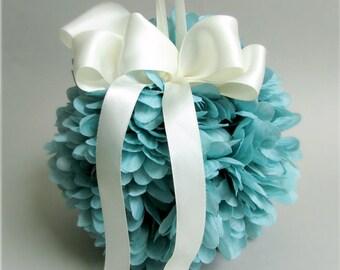 "Teal Blue and Ivory Flower Girl Pomander, Silk Chrysanthemums, Satin Bow, Kissing Ball, Decorative Sphere,  ""Celebrate"""