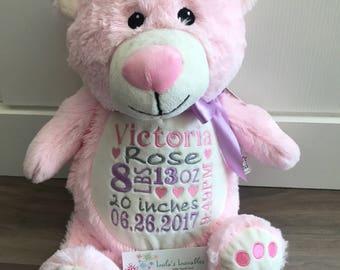 Embroidered Pink Bear Little Elska