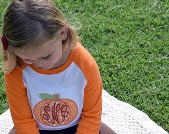 Monogram Pumpkin Shirt, Embroidered Fall Top, Kid's Raglan Tee, Girl's Clothing, Children's Initial Outfit, Halloween T-shirt, Thanksgiving