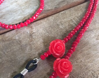 Red eyeglasses chain,eyeglasses cord, eyeglass holder,gift for her,cadena para gafas,catenella occhiali by LunaDeCoco