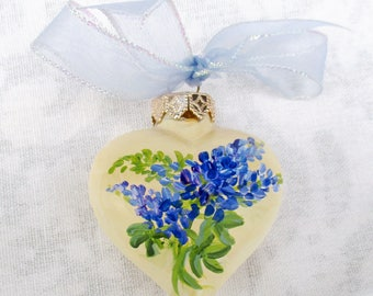 Lupines Heart Ornament ~ Texas Bluebonnets ~ February Birthday ~ Shabby Ornament ~ Handpainted Lupines ~ Sweetheart Gift