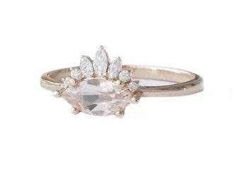 Marquise Morganite Ring ,Morganite Engagement Ring, Diamonds Crown Engagement Ring, Antique Style Engagement Ring, Vintage Engagement Ring