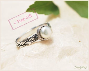 Pearl Engagement Ring, Pearl ring, Braided Silver ring, June birthstone ring, Personalized engagement ring, Pearl promise ring, Gift for her