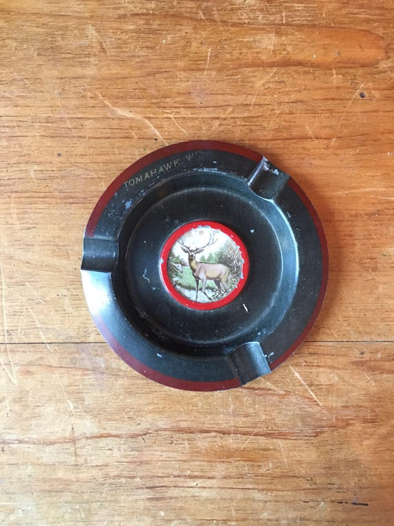 Vintage Deer Ashtray, Tomahawk Wisconsin Novelty Ashtray, Ashtray Weed, Ash Tray Vintage