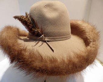 1950s Beige Felt Hat Mr John Jr Wide Brim Mink Trim with Feather